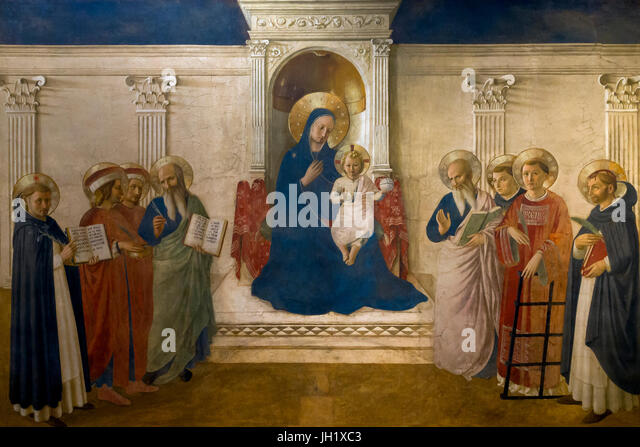 Bosco ai Frati Altarpiece, by Fra Beato Angelico, 1450-1452, Convent of San Marco, Florence, Tuscany, Italy, Europe - Stock Image