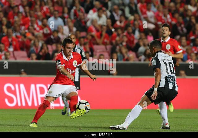 Benfica«s forward Andrija Zivkovic from Serbia (L) and Portimonense«s midfielder Ewerton from Brazil  - Stock Image
