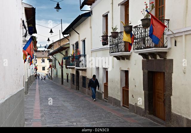 Calle de la Ronda, historical center of Quito, Ecuador - Stock Image