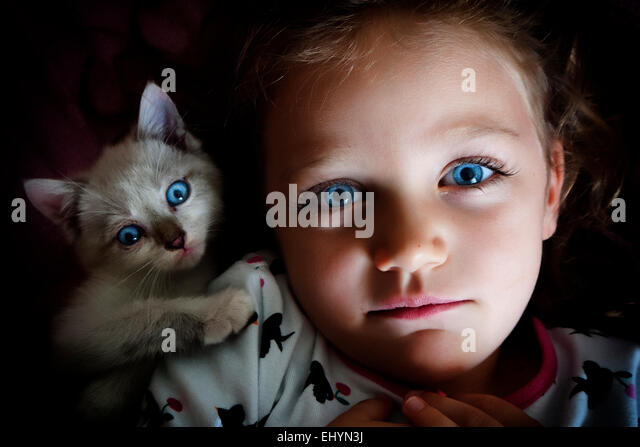 Over head view of a girl with her cat - Stock Image