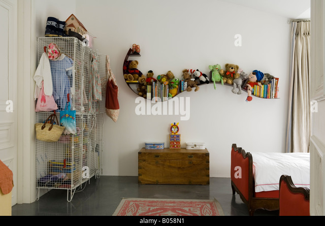 Child's bedroom in converted 1950s factory - Stock Image
