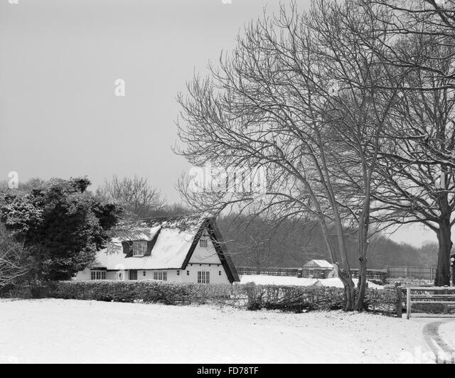 Hayfield Cottage Great Gransden Cambridgeshire in snow - Stock Image