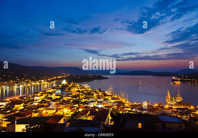 Poros at night - Stock Image