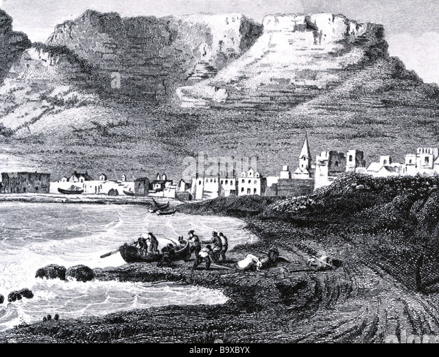 CAPE TOWN South Africa in an 1850 engraving - Stock-Bilder
