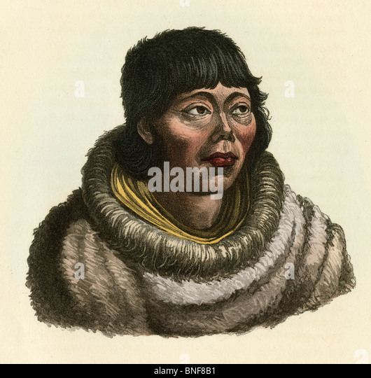 1842 hand-colored engraving from Dr. Prichard's Natural History of Man, 'Kamtschadale.' - Stock-Bilder