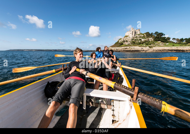 Gig rowing in Marazion Cornwall England Great Britain UK - Stock Image