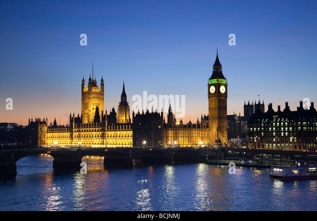 Big Ben & Houses of Parliament, London, England - Stock Image
