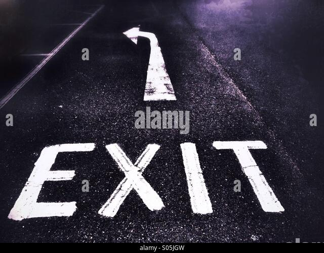 Exit sign on road - Stock Image