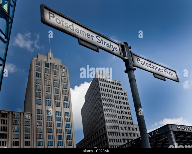 German street signs in city center - Stock Image