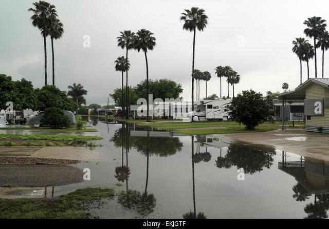 April flooding in a mobile home/RV Park in Mission, Texas, USA - Stock Image