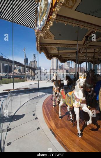 USA, New York State, New York City, Merry go-round near Brooklyn Bridge - Stock-Bilder