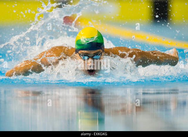 Toronto, Canada. 14th July, 2015. Leonardo De Deus of Brazil competes during the men's 200m butterfly final - Stock-Bilder