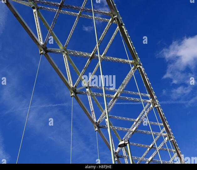 Detail of steelwork, Runcorn to Widnes Silver Jubilee road bridge, A533, Halton, Cheshire, England, UK - Stock Image