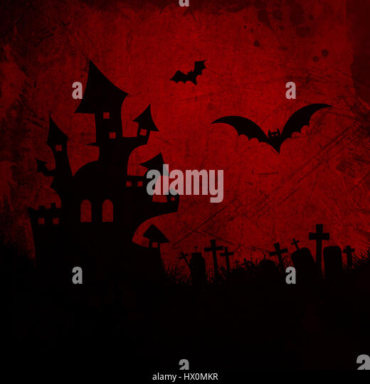 Grunge Halloween background with haunted house - Stock Image