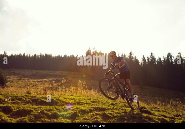 Mature man mountain biking, Styria, Austria - Stock Image