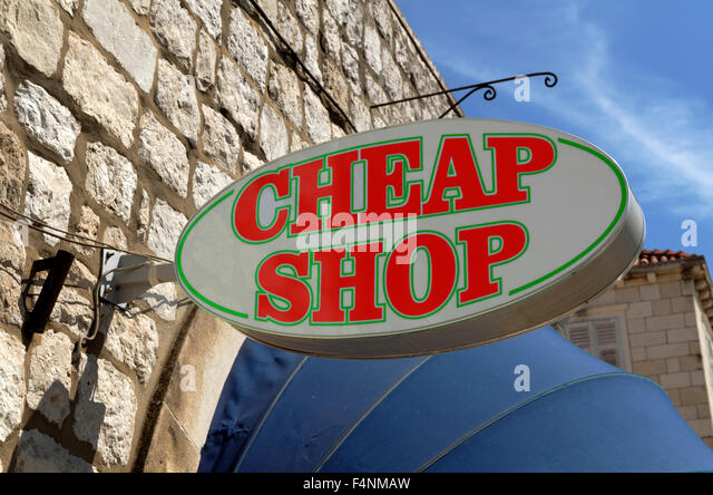 Cheap shop sign - Stock Image