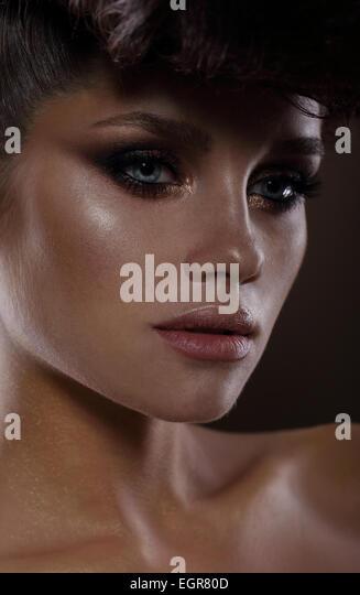 Glamorous Fashion Model with Dark Mascara - Stock Image