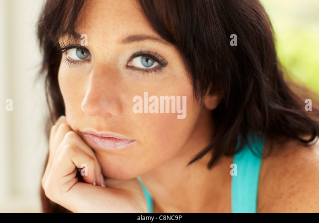Sad looking woman - Stock Image