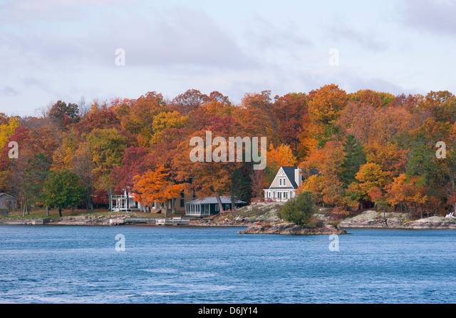Summer homes in the Thousand Island region of the St. Lawrence River, New York State, United States of America, - Stock Image