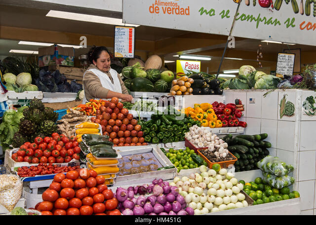 Vegetable stand at Inaquito Market food court, Quito, Ecuador - Stock Image
