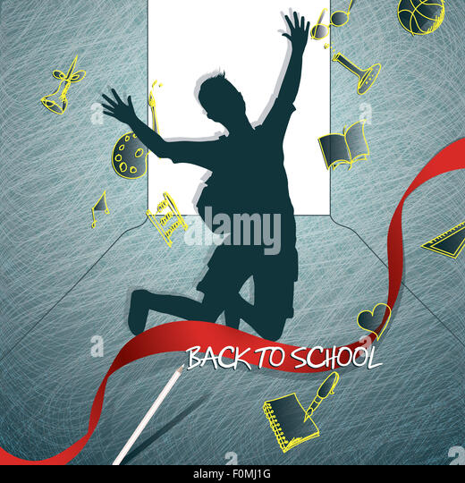 Happy student silhouette back to school - Stock Image