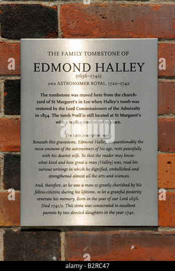 Commemorative plaque to Edmond Halley, Royal Observatory,Greenwich - Stock Image