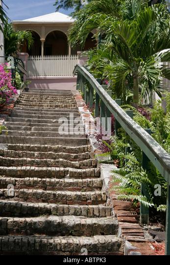 St. Thomas USVI Charlotte Amalie Blackbeard's Hill 99 Steps staircase built 1750 - Stock Image