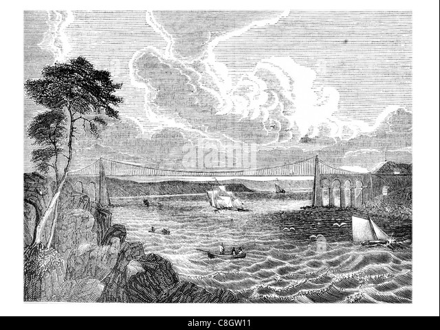 Menai Suspension Bridge Isle Anglesey north Wales Strait Thomas Telford coast costal storm waves wave ocean bay - Stock Image