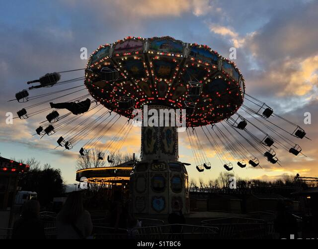 All the fun of the fair. Fairground rides at Lee Valley White Water Centre, Waltham Abbey, Essex - Stock Image