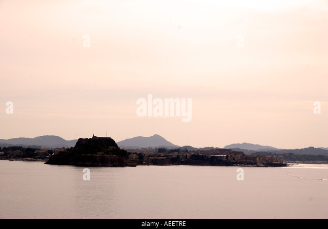 Kerkyra Town with Old Fortress, Kerkyra, Corfu, Greece, Europe, - Stock Image