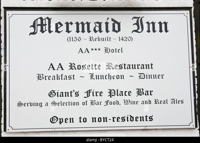 The Mermaid Inn Sign Mermaid Street East Sussex England - Stock Image