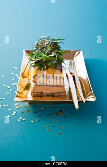 Foie Gras Terrine with Parsnip and Coriander - Stock Image