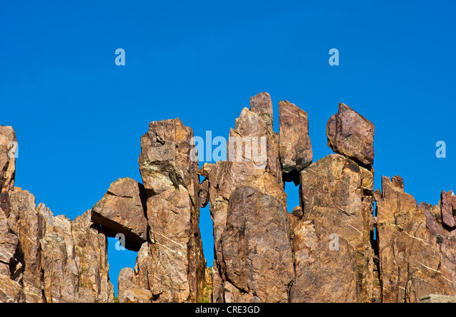 Impressive rock formations in the Anti-Atlas or Lesser Atlas range, Southern Morocco, Morocco, Africa - Stock Image