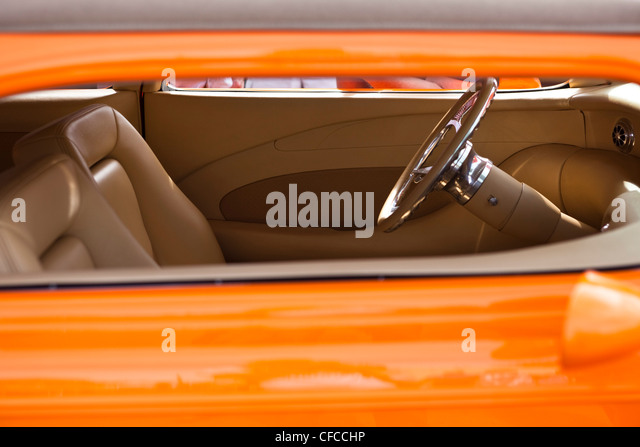 The custom interior of a vintage car in Idaho. - Stock Image
