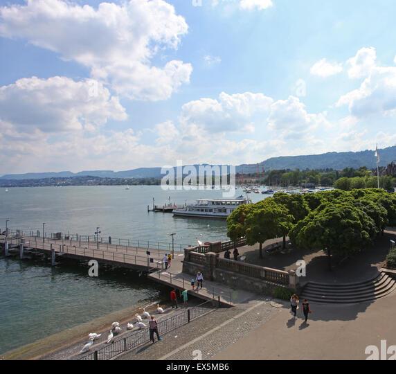 Lake Zurich Zurichsee Switzerland - Stock Image