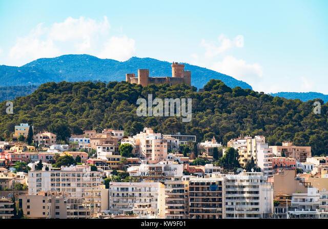 castell de bellver castle overlooking palma de mallorca, majorca, spain. - Stock Image