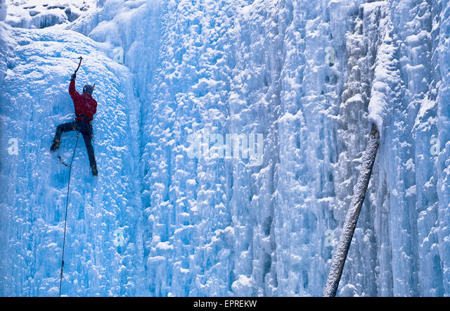 A lead ice climber reaches the top of a climb in Kootenay National Park, British Columbia. - Stock Image