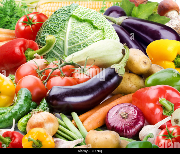 Colourful bright background consists of different vegetables - Stock Image