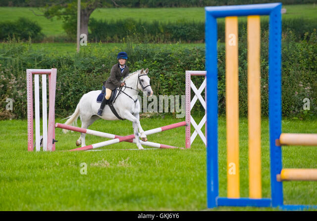 Teenage girl show jumping on her pony at Llanigon YFC Show 2016 nr Hay-on-Wye Powys Wales UK - Stock Image