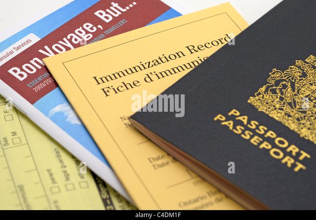 Passport, Immunization Record and Travel Checklist, Canadian - Stock-Bilder