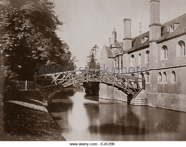 1870 Mathematical Bridge Queens College Cambridge University River Cam UK England. Men with Top Hats and Victorian - Stock Image