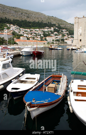 Pleasure boats moored in Dubrovnik harbour, Croatia - Stock Image