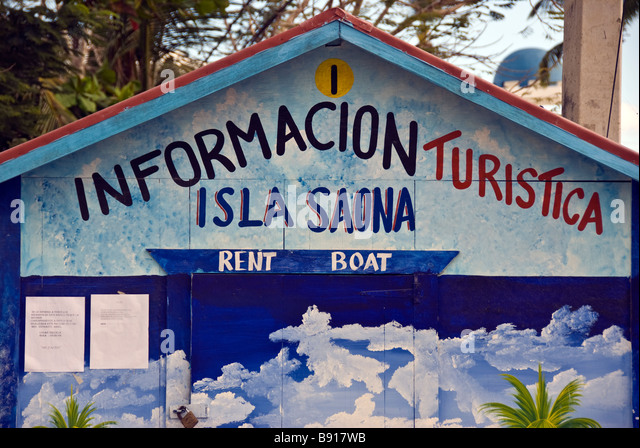 Tourist Information stand Bayahibe fishing village Dominican Republic southeast coast popular for boat tours to - Stock Image