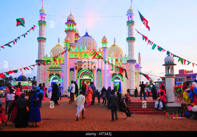 Kerala, India. 7th March 2017. Beemapally is decorated with coloured lights for Uruze festival at Trivandrum, kerala, - Stock Image
