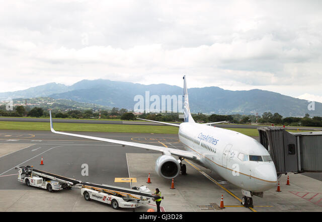 A Copa Airlines plane, national airline of Panama, on the ground, Juan Santamaria airport, San Jose, Costa Rica, - Stock Image