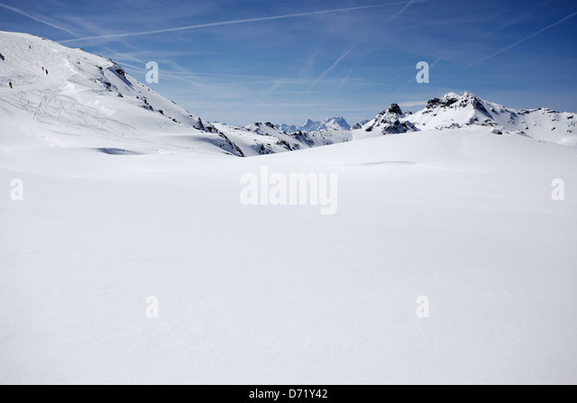A travel type photo from a skiing holiday in the French Alps - Stock-Bilder