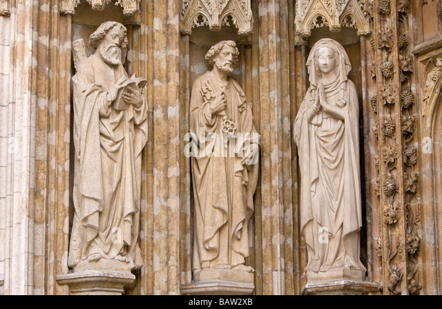 Stone carvings on notre dame stock photos