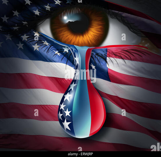 American social crisis and grief or violence in the United States concept as a human eye with a US flag crying a - Stock-Bilder