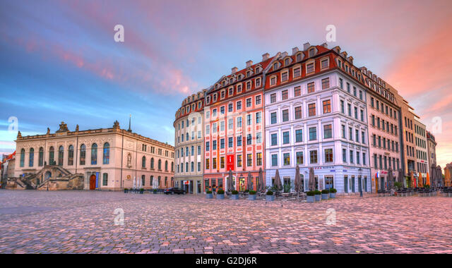 Neumarkt square in the old town of Dresden, Germany. HDR image. - Stock Image
