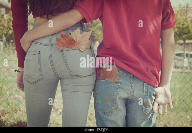 Rear view of a couple walking with their arms around each other - Stock Image